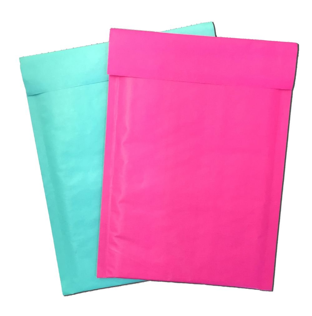 6'' x 10'' Hot Pink & Aqua Combo -Rigid Kraft BUBBLE MAILERS Approved Mailers (200 Lot, Both Colors)