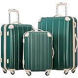 Merax Travelhouse 3 Piece Spinner Luggage Set with TSA Lock (DarkCyan & Ivory)