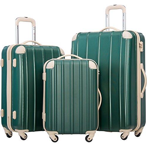 Merax Travelhouse 3 Piece Spinner Luggage Set with TSA Lock (DarkCyan & Ivory) by Merax