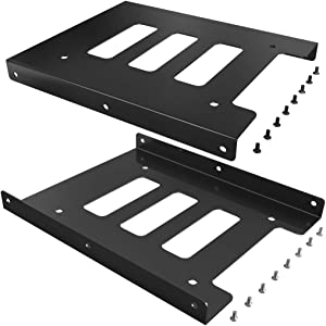 SSD Mounting Bracket, JewMod 2 Pack 2.5 to 3.5 Inch SSD HDD Holder Metal Mounting Adapter Bracket Dock for Desktop PC SSD Server Hard Drive Tray