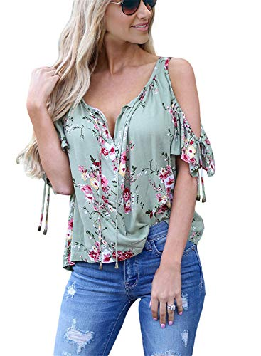 AlvaQ Summer Short Sleeve Shirt V Neck Cold Shoulder Floral Print Tops and Blouses Fashion 2019 Rose Medium (Best Selling Promotional Products 2019)