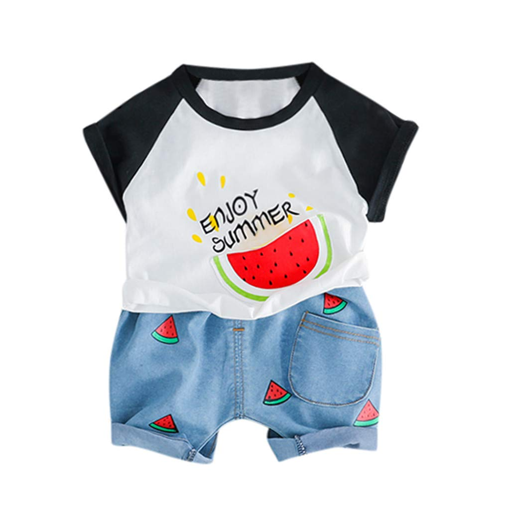 2pcs Baby Boysgirls Outfit, Kids Watermelon Letter Print Summer Tops t-Shirt Short Pants Casual Outfits (3-6 Months, Black)
