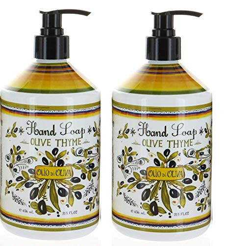 2 Bottles, Italian Deruta Hand Soap, Olive Thyme, 21.5 FL OZ By Home & Body Company