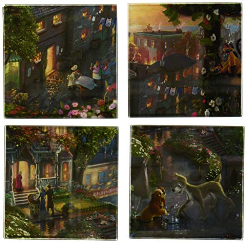 Trend Setters SPCSTR357 Disney's Lady and the Tramp (Thomas Kinkade Art) with Wooden Holder Glass Coaster Set 4x4 Translucent ()