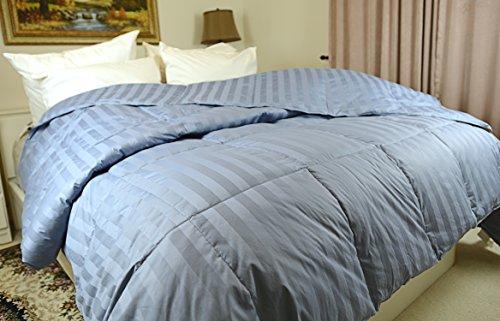 Luxlen Grand Stripe Down Comforter – 400 Thread Count, 600 Fill Power (Queen/Full 90″x98″, Blue)