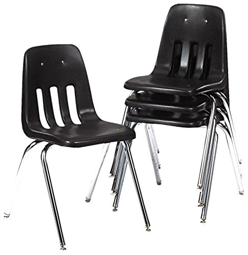 (Virco Student Chair, Black, Soft Plastic Shell, 18