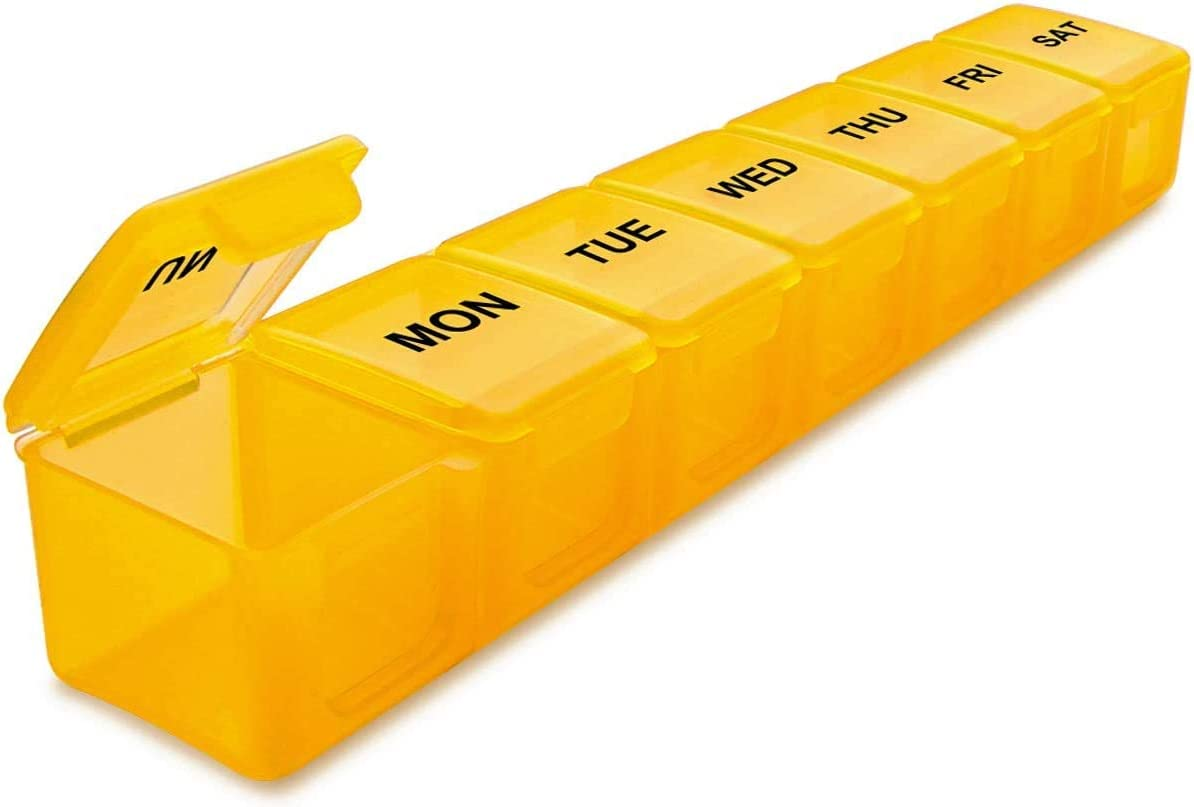 BUG HULL Extra Large Pill Organizer for Travel, Weekly XL Pill Box, 7 Day XXL Pill Case, Oversize Daily Medicine Organizer for Vitamins, Fish Oils, Supplements (Yellow)