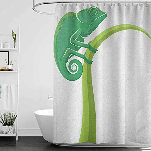 homecoco Shower Curtains Fabric Grey Reptile,Exotic Grumpy Lizard Holding onto Grass with Curled Tail Jungle Cartoon Camouflage, Green White W65 x L72,Shower Curtain for Kids -