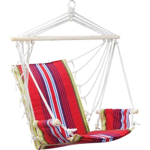 Red Hanging Rope Chair Outdoor Porch Swing Yard Tree Hammock Garden Seat 265 Lbs
