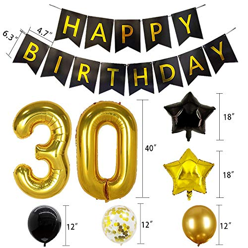 30th Birthday Decorations Black and Gold 30 Party Decorations 30th Birthday Banner 30th Number Balloons for 30th Anniversary Party Decorations