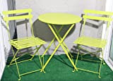 Carlota Furniture Outdoor Bistro Set, Features 1 Folding Table and 2 Folding Chairs with Safe Locks, Lime Green, 3 Piece