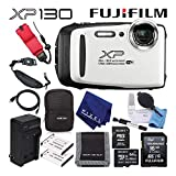 Fujifilm FinePix XP130 Waterproof Digital Camera (White) 600019827 Advanced Accessory Bundle Includes 64GB Memory Card, Extra Battery, Battery Charger, and Floating Wrist Strap