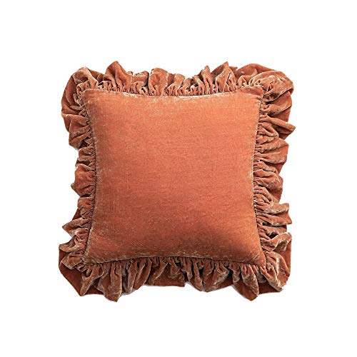 AWYDHC Luxury Ruffled Velvet Cushion Cover Cozy Solid Velvet Throw Pillow Case Decorative Couch Cushion Cover Europe…