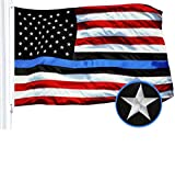 Cheap G128 – Blue Lives Matter American USA Police Flag Embroidered Stars Sewn Stripes 3X5 FT Brass Grommets – Honoring Men Women Law Enforcement Officers Red Black White Blue