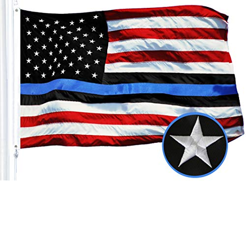 G128 - Blue Lives Matter American USA Police Flag Embroidered Stars Sewn Stripes 3X5 FT Brass Grommets - Honoring Men Women Law Enforcement Officers Red Black White Blue ()
