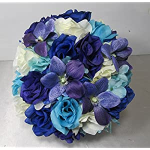 Royal Blue Purple Ivory Rose Orchid Bridal Wedding Bouquet & Boutonniere 15