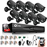 XVIM 8CH Home Security Camera System HDMI CCTV DVR Recorder with 1TB Hard Drive,8x720 Outdoor Video Surveillance Cameras 100ft Night Vision,Easy Remote Access on Phone