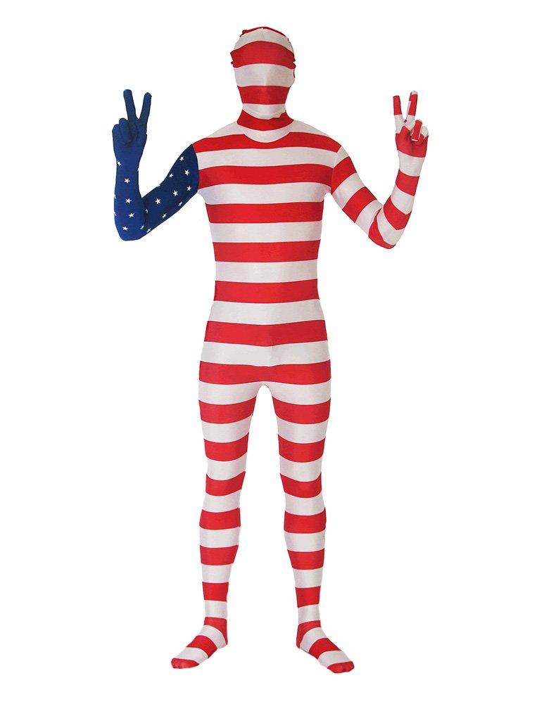 SecondSkin Men's Full Body Spandex/Lycra Suit with USA World Flag Design, Multi, XXS