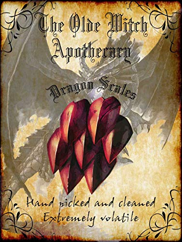 American Collectibles The Olde Witch Apothecary Dragon Scales Spell Ingredients Halloween Metal Sign -
