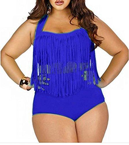 Women's Plus Size Retro Vintage High Waist Braided Fringe Top Bikini Swimsuits