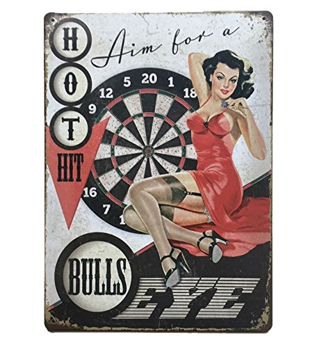 UNiQ Designs Vintage Tin Signs -Hot Hit Bulls Eye Vintage Bar Decoration -Aim for an old signs Bullseye Metal sign. Perfect Bar Signs and Beer accessories Home Decor Wall Art Tin Sign 12 x 8 -