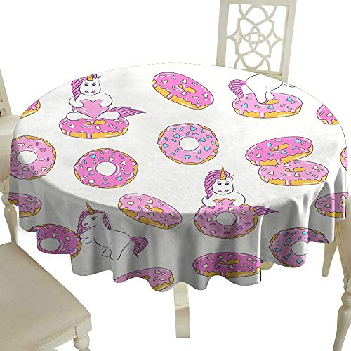 Fabric Dust-Proof Table Cover Seamless pattern with cute baby unicorns and donuts Background for kids design Pattern can be used for wallpaper web page surface textures package for Kitchen Dinning - Textures Oval Table