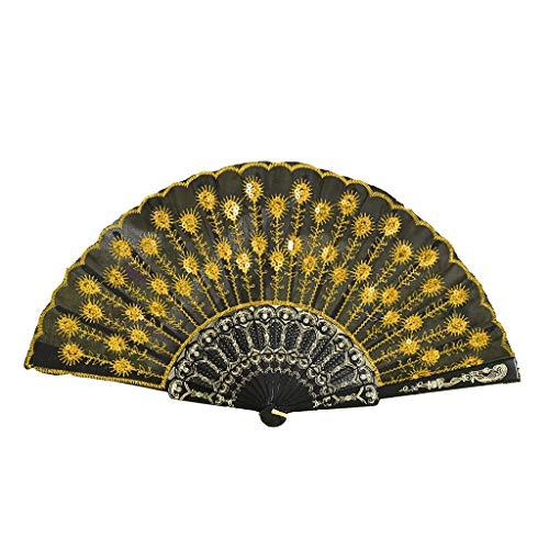 Holzkary Chinese Style Vintage Folding Hand Held Fan/Paper Fan/Feather Fan/Sandalwood Fan/Bamboo Fans for Wedding, Party, Dancing(23cm.Yellow)