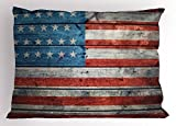 Ambesonne USA Pillow Sham, July Independence Day Weathered Antique Wooden Looking National Celebration Image, Decorative Standard King Size Printed Pillowcase, 36 X 20 inches, Blue Red White