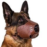 CollarDirect German Shepherd Oversize Leather Dog Muzzle Black Brown Extra Large (Black)