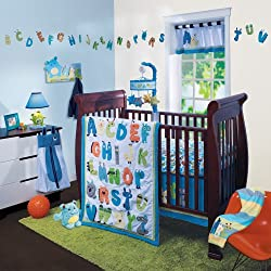 Lambs & Ivy Alpha Baby, Unisex 4 Piece Crib Bedding Set