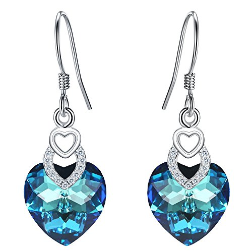 Bermuda Blue Crystal - FANZE 925 Sterling Silver 3 Heart of the Ocean Gorgeous Dangle Earrings Made with Swarovski Crystal Bermuda Blue