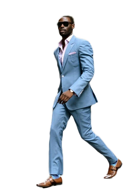 AK Beauty Men\'s Light Blue 2 Pieces Groom Tuxedos 2 Buttons Wedding ...