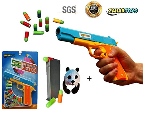 ZAHAR Toys Realistic Colt 1911 Toy Gun 10 Colorful Soft Bullets, Ejecting Magazine , Slide Action Training Play -