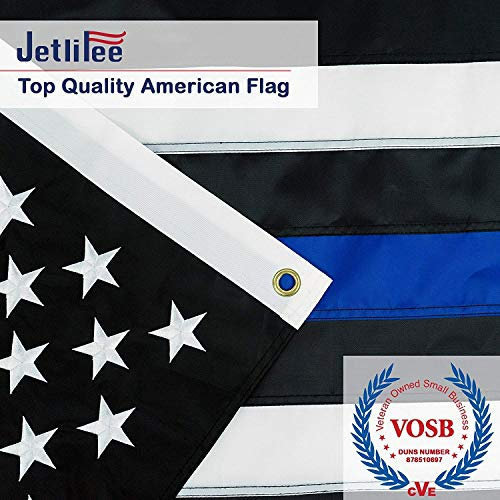 Jetlifee Black White Thin Blue Line American Flag 3x5 Ft by US Veterans Owned Biz. Heavy-Use Nylon Embroidered Stars Sewn Stripes Fast Dry, All Weather USA Flag-Honoring Law Enforcement Officers ()
