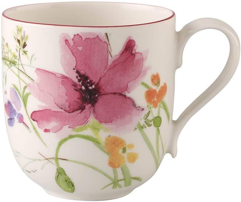 Villeroy & Boch Mariefleur Basic Mug, 11.75 oz, Premium Porcelain, White/Multicolored