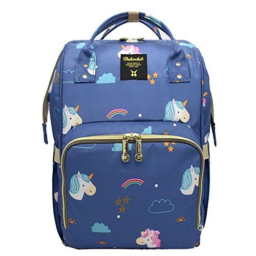 bigforest momia mochila bolsa de viaje multifunción bebé pañales cambiar pañales bolso Tote Bag Black 3 Talla:talla única Blue with printed