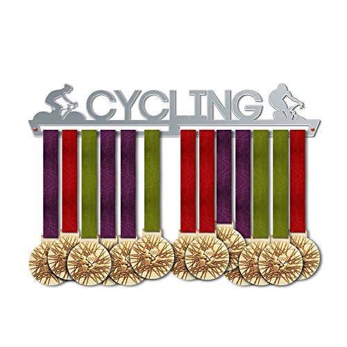 VICTORY HANGERS Cycling Medal Hanger Display - Wall Mounted Award Metal Holder - 100% Stainless Steel Rack for Champions
