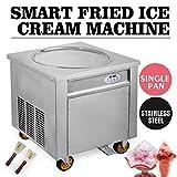 Mandycng Commercial Round 50 cm. Pan Thai Fried Ice Cream Machine, Yogurt Ice Cream Roll Maker w/ 5 Boxes Night Market Supermarket Rapid Freeze Heavy Duty Public Park