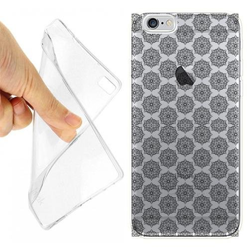 CUSTODIA COVER CASE DAMASK-PATTERN PER IPHONE 6 6S TRASPARENTE