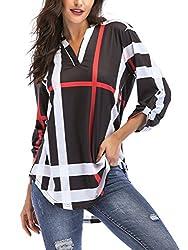 3/4 Sleeve Plaid Tunic With V-Neck