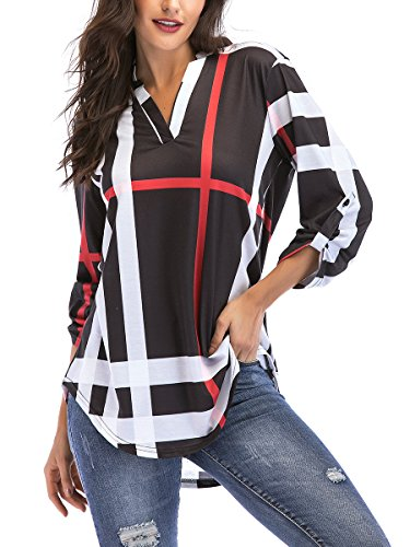 (St. Jubileens Women Roll-Up 3/4 Sleeve Plaid Shirt Tunic V Neck Casual Pullover Blouses Tops Large, Black)