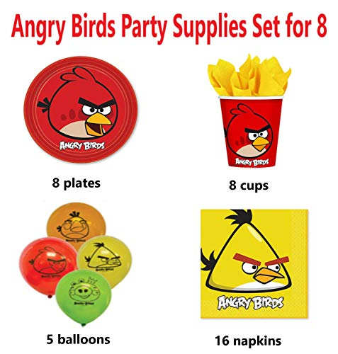 Angry Birds Birthday Party Supplies Set : Plates Napkins Cups Balloons for 8 Guests -