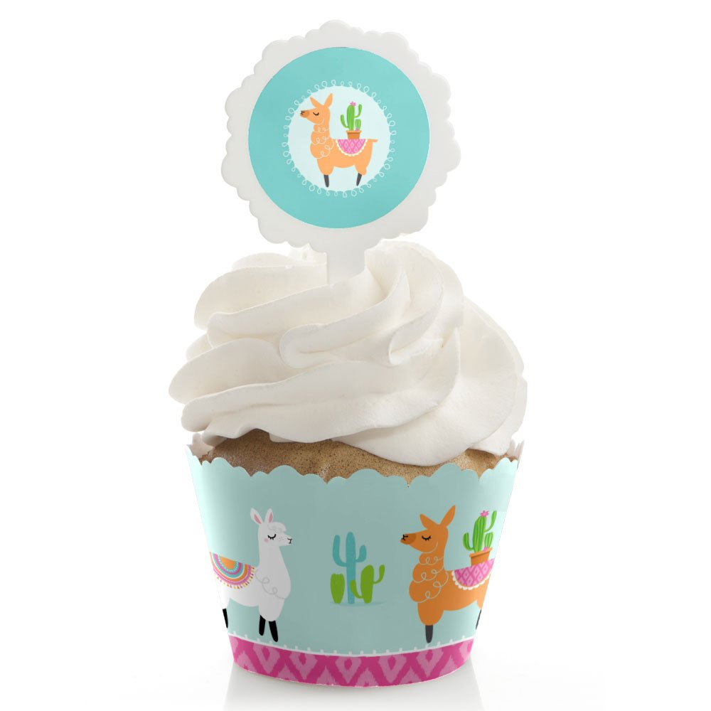 Whole Llama Fun - Cupcake Wrapper & Pick Llama Fiesta Baby Shower or Birthday Party Kit - Set of 24
