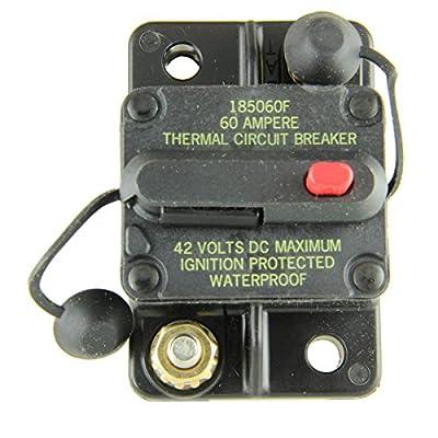 Bussmann CB185-60 Waterproof High Amp Flush Mount Type III (3) Circuit Breaker (60 Amp), 1 Pack