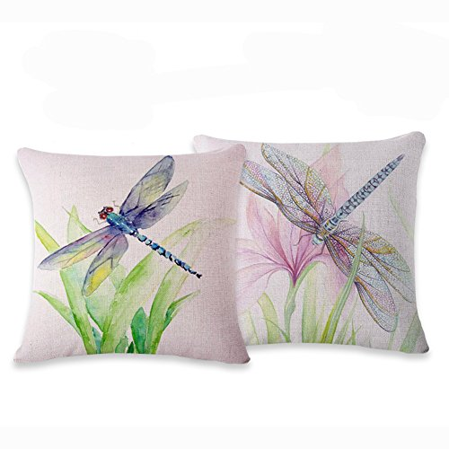 Dragonfly Throw Pillow - Myathle Cotton Linen Throw Pillow Cover Decorative 18 X 18 Inch Pack of 2 Watercolor Printing Couch Pillow Cases Flower