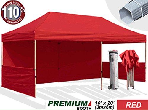 Eurmax Premium 10 x 20 Ez Pop up Canopy Fair Tent Event Canopy Instant Party Gazebo Commercial Grade Bonus Wheeled Storage Bag + Four(4) Weight Bags (Red)