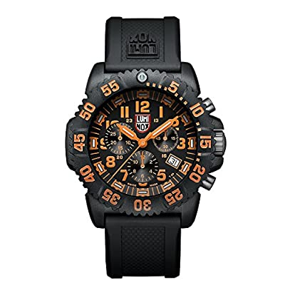 Luminox Men's 3089 Navy Seal Colormark Chronograph 3080 Series Black Chronograph Rubber Band, Orange Accents Watch from Luminox