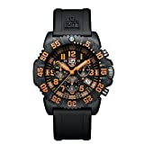 Luminox Men's 3089 Navy Seal Colormark Chronograph 3080 Series Black Chronograph Rubber Band, Orange Accents Watch