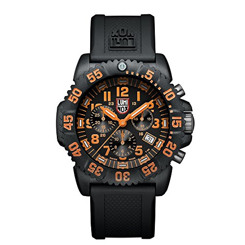 Luminox Men's 3089 Navy Seal Colormark Chronograph 3080 Series Black Chronograph Rubber Band, Orange Accents Watch by Luminox