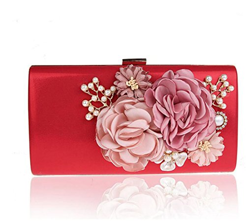 EPLAZA Women Large Capacity Flora Evening Party Bags Clutch Purse Vintage Wedding Handbags Wallet (red)